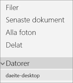 OneDrive-portalens navigering på vänstra sidan som visar den expanderade Datorer-menyn