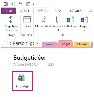 Infoga en befintlig Excel-fil