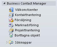 Maximerad Business Contact Manager-mapp i navigeringsfönstret