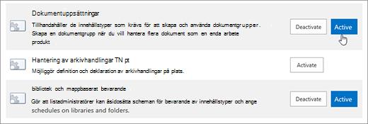 Exempel på theSite Webbplatssamlingens funktioner som du kan aktivera för SharePoint