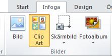 Kommandot ClipArt på fliken Infoga i menyfliksområdet i PowerPoint 2010
