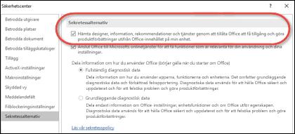 Dialogrutan Sekretessalternativ som visar var du aktiverar eller inaktiverar molntjänster för Office.