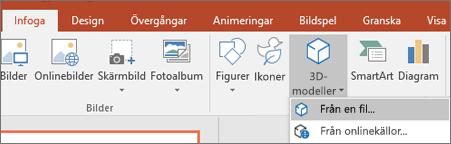 Använd Infoga > 3D-modeller när du vill lägga till 3D-objekt i en presentation