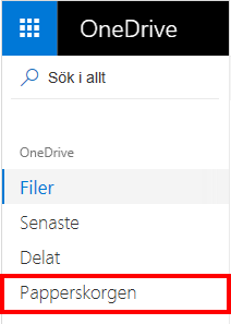 Välja Papperskorgen i OneDrive