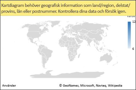 Kartdiagram med tvetydiga data i Excel