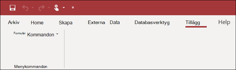 Skärm bild av menyfliksområdet tillägg i Access