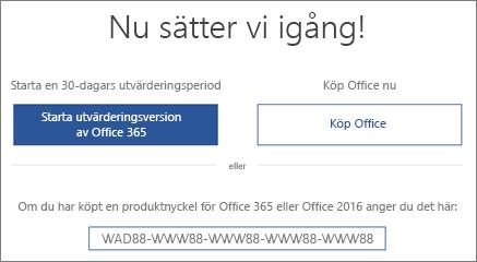"""Visar skärmen """"Nu sätter vi igång"""" som anger att en utvärderingsversion av Office 365 ingår på enheten"""