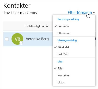 En skärmbild av den nedrullningsbara filtermenyn på sidan Kontakter.