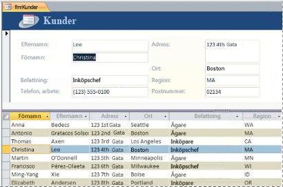 Ett delat formulär i en Access-databas
