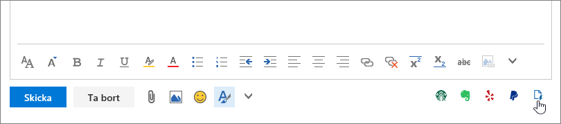 Skärmbild på den nedre delen av ett e-postmeddelande, under brödtextområdet, där markören pekar på Mina mallar-ikonen längst till höger.
