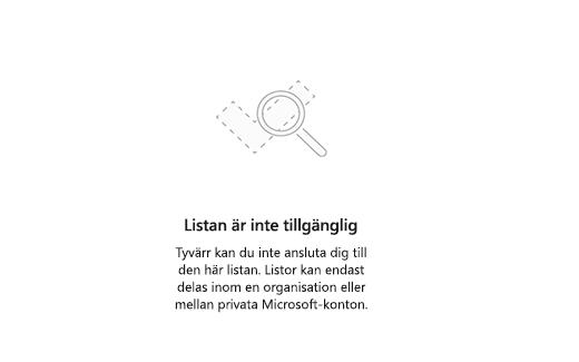 Skärmbild med felmeddelande lista inte tillgänglig