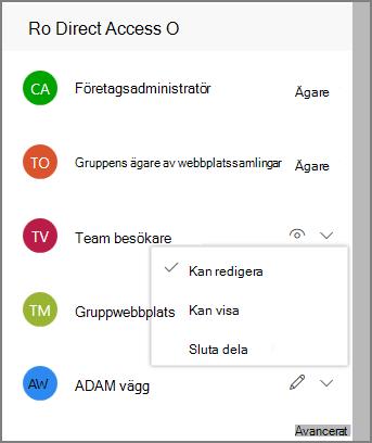Skärmbild av länkar för direktåtkomst