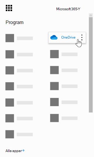 Appfönstret i Office 365 med appen OneDrive markerad