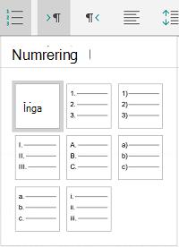 Numreringsalternativ