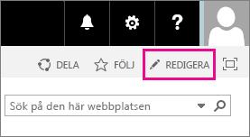 En skärmbild av redigeringsikonen på startsidan på gruppwebbplatsen