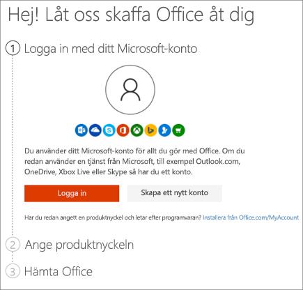 Visar sidan från setup.office.com där du löser in produktnyckeln
