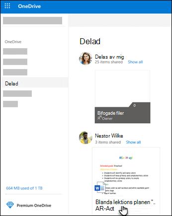 Delade OneDrive-mappar