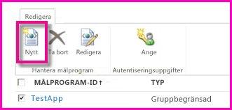 Skärmbild med sidan Administrationscenter för SharePoint Online som används för konfigurering av ett målprogram för säker lagring.