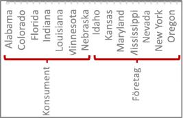 En datahierarki med skalstreck