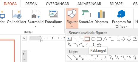 Du kan välja en figur, t.ex. en rektangel, i avsnittet Figurer i gruppen Illustrationer.
