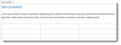 Tabell på SharePoint Online-webbplatsen