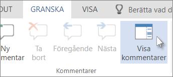 Bild av kommandot Visa kommentarer under fliken Kommentarer i läsvyn i Word Online