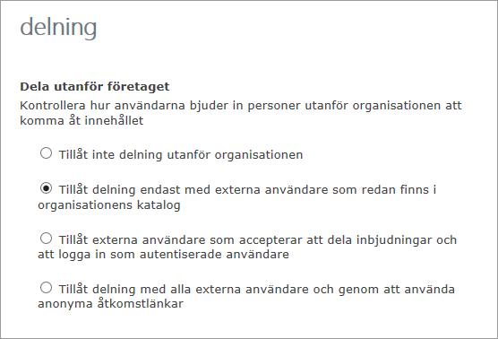 Alternativ för delning med externa användare