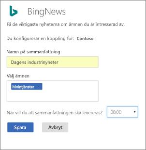 Konfiguration av Bing connector