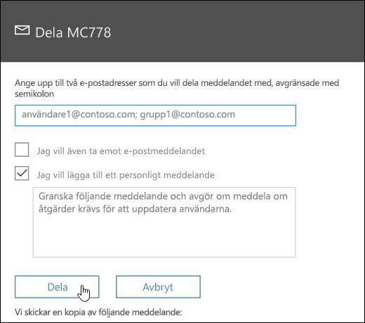 En skärmbild av meddelandet dela skärm
