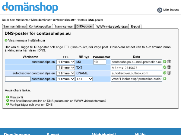 TXT-post i DNS-post i Domainnameshop