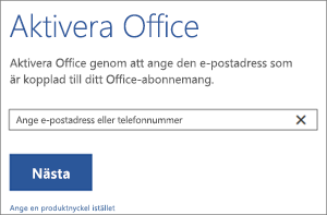 Visar dialogrutan Aktivera där du kan logga in för att aktivera Office