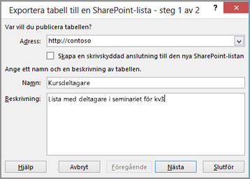 dialogruta för guiden exportera till sharepoint