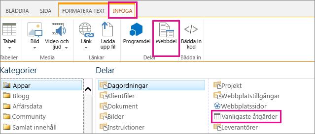 En skärmbild över hur du konfigurerar webbdelen för Vanligaste åtgärder