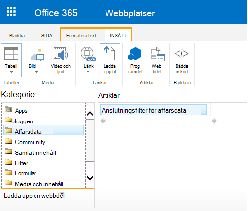 Webbdelen Excel Web Access finns inte i kategorin affärsdata