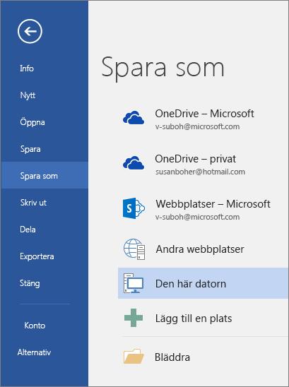 Alternativet Spara som visas efter att du klickar på Den här datorn.