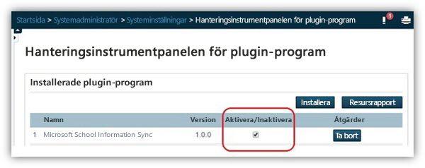 Kontrollera att plugin-programmet är aktiverat på sidan med hanteringsinstrumentpanelen för plugin-program.