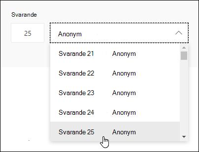 Ange ett specifikt nummer i sökrutan för den svarande för att se information om den personens svar i Microsoft Forms