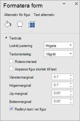Formatera figur som visar marginal inställningar