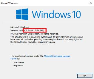 Bild av dialog rutan Windows 10-version