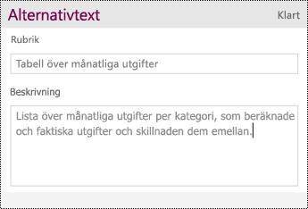 Lägg till alternativtext i en tabell.