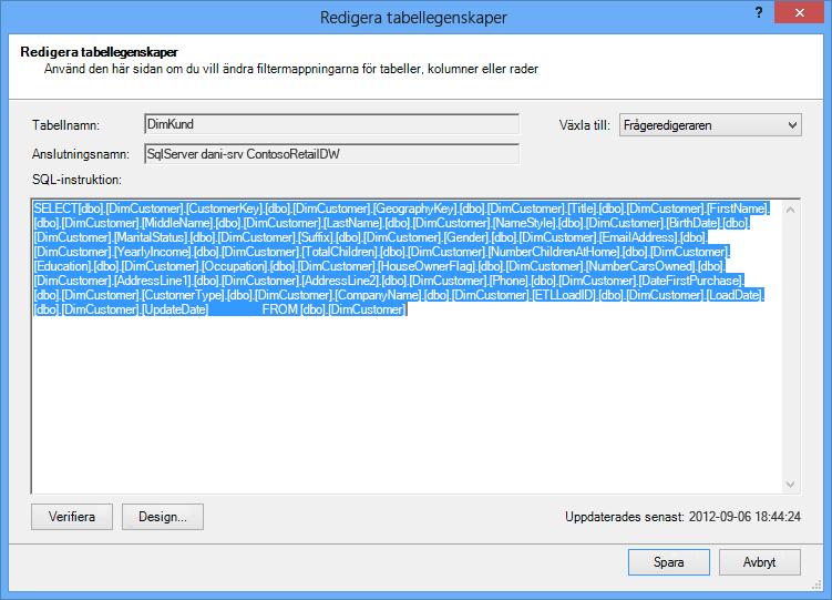 SQL-fråga som användes för att hämta data