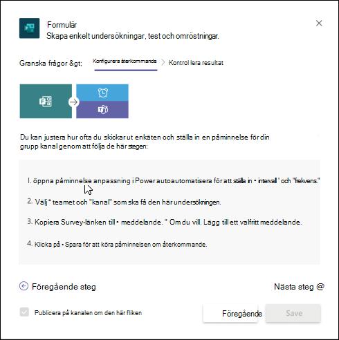 Dialogrutan Formulär i Teams som beskriver hur du skapar ett automatiserat arbetsflöde för undersökningen med Power Automate.