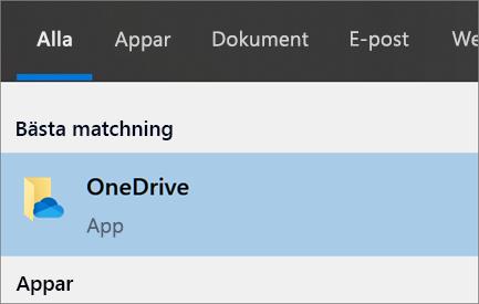 Skärmbild av att söka efter OneDrive-skrivbordsprogrammet i Windows 10