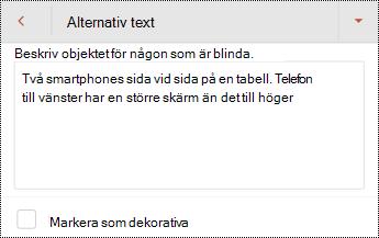 Dialog rutan alternativ text för en bild i PowerPoint för Android.