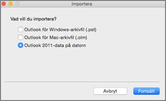 Importskärm med Outlook 2011-data på datorn valt