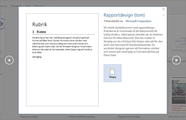 Visar en förhandsgranskning av en rapportdesignmall i Word 2016.