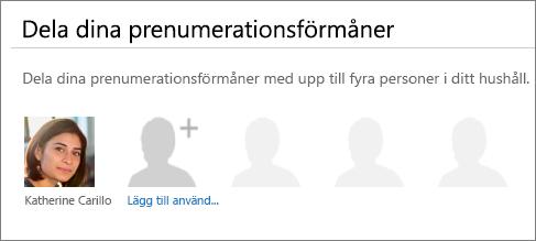 """Skärmbild av avsnittet """"Dela dina prenumerationsförmåner"""" på sidan Dela Office 365 där länken """"Lägg till användare"""" visas."""