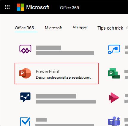 Hemsidan för Office 365 med appen PowerPoint markerad