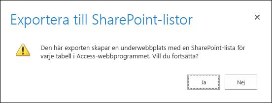 Skärmbild av bekräftelsedialogrutan. Om du klickar på Ja exporteras data till SharePoint-listor och om du klickar på Nej avbryts exporten.