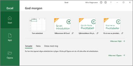 Skapa en arbetsbok i Excel